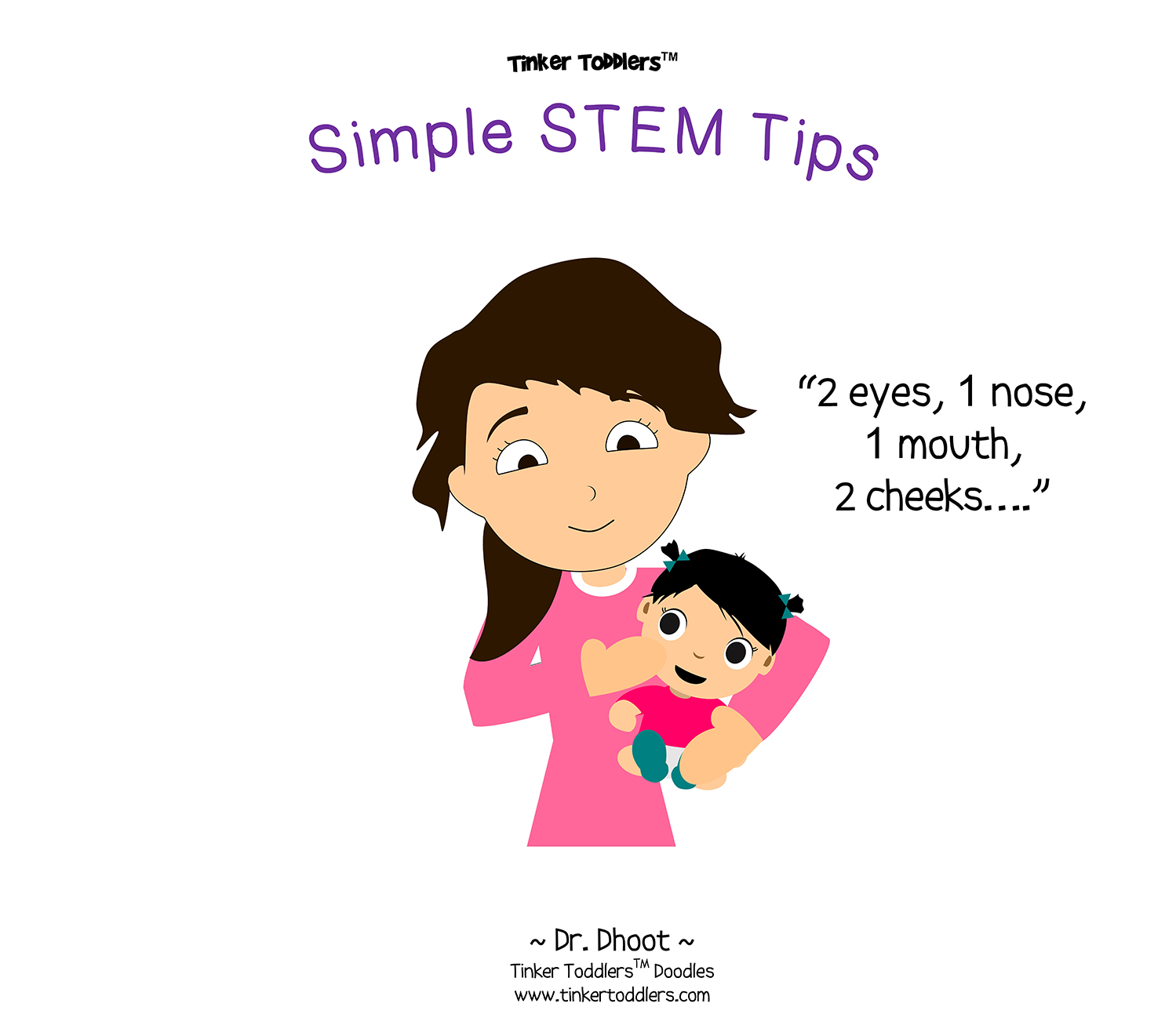 mother daughter, mom and daughter, mom and baby, counting facial features, stem tips, stem cartoons