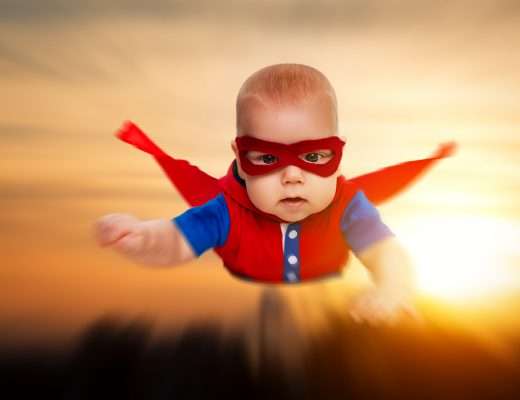 super baby, superman baby, baby flying, baby red cape