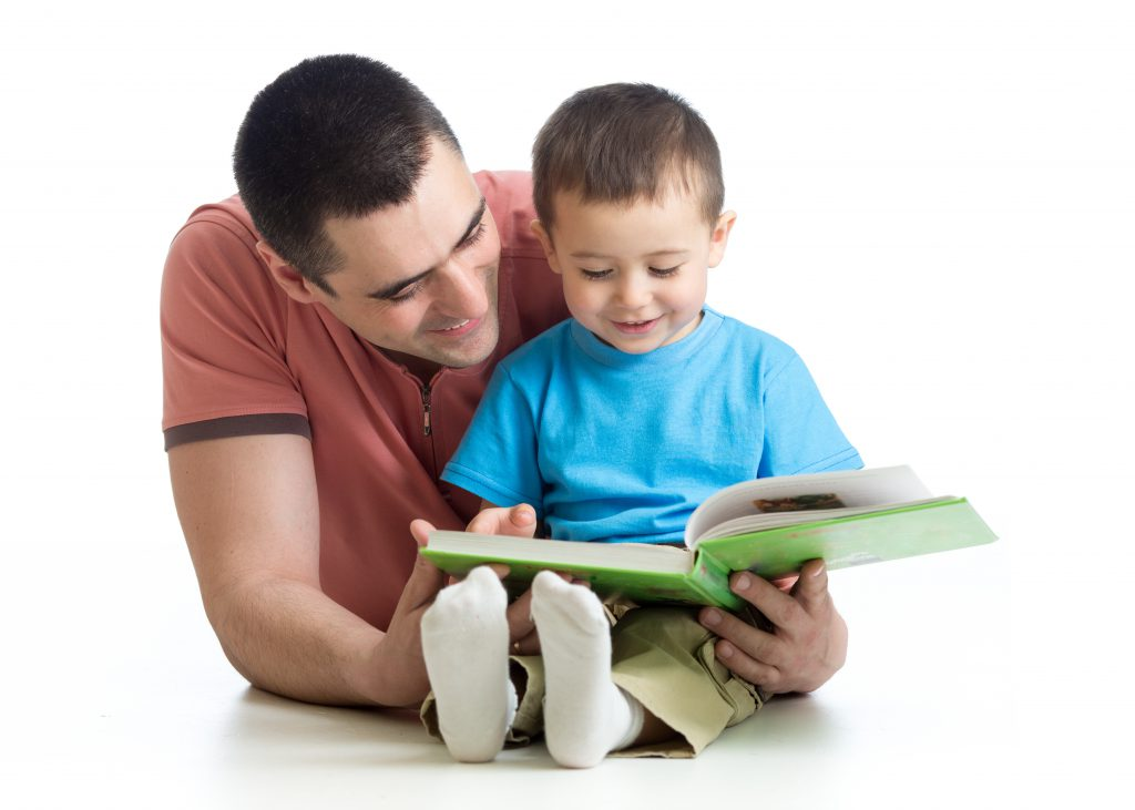 father son, father reading to son, little boy with book